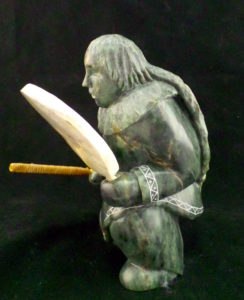 Soapstone Carving Inuvialuk Drummer