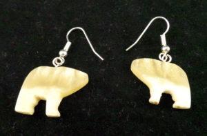 Muskox Horn, Bear Earrings