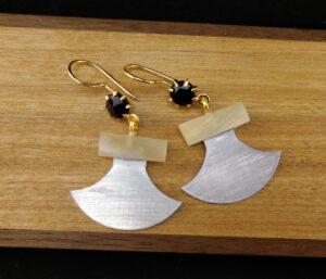 Muskox Horn Ulu Earrings