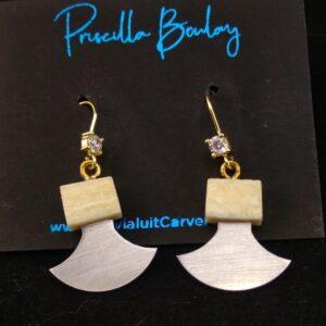 Walrus Ivory Ulu Earrings